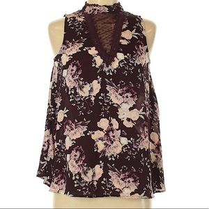 TAYLOR & SAGE Purple Floral Sleeveless Blouse